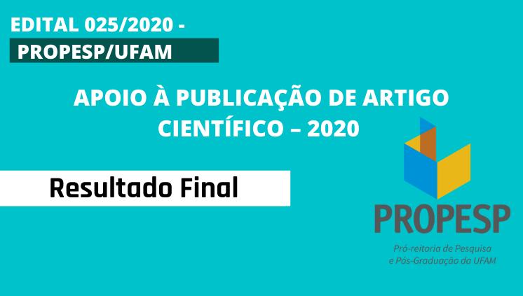 EDITAL 025/2020 - Resultado Final