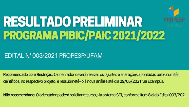 Resultado Preliminar - Programa PIBIC/PAIC 2021/2022